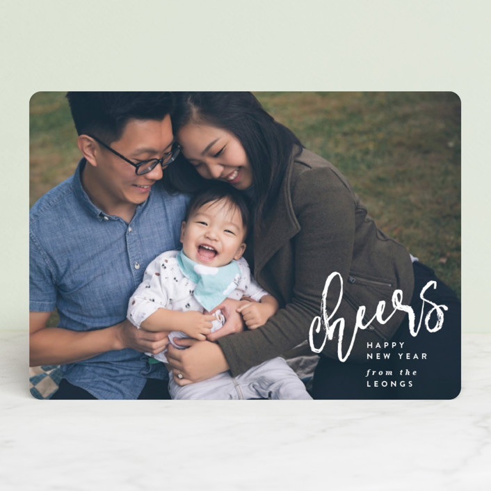 """""""Joy Script"""" - Holiday Photo Cards in Snowfall by Owl and Toad."""