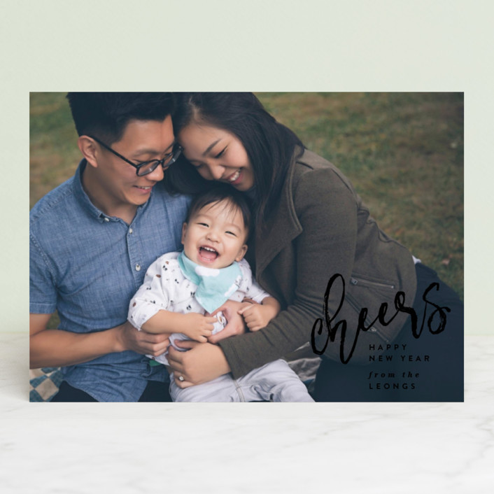 """""""Joy Script"""" - Holiday Photo Cards in Onyx by Owl and Toad."""