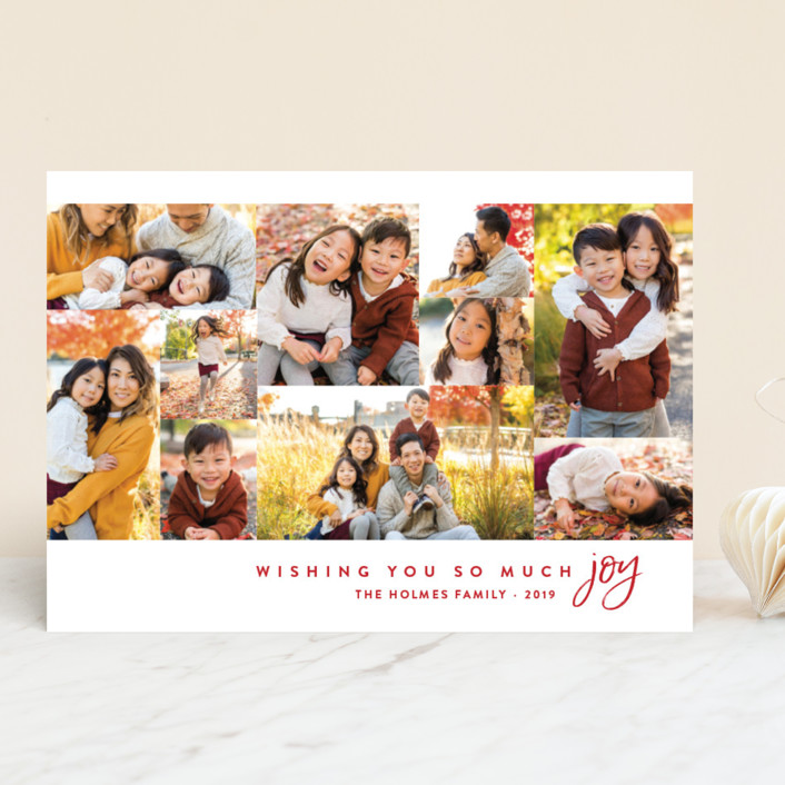 """Joyful Photos"" - Holiday Photo Cards in Holly Berry by Amy Payne."