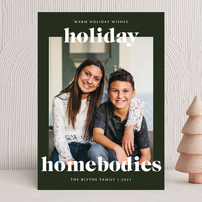 """holiday homebodies"" - Funny Holiday Photo Cards in Wreath by Lindsay Stetson Thompson."