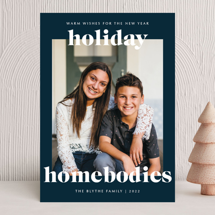 """""""holiday homebodies"""" - Funny Holiday Photo Cards in Navy by Lindsay Stetson Thompson."""