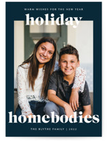 This is a blue holiday photo card by Lindsay Stetson Thompson called holiday homebodies with standard printing on smooth signature in standard.