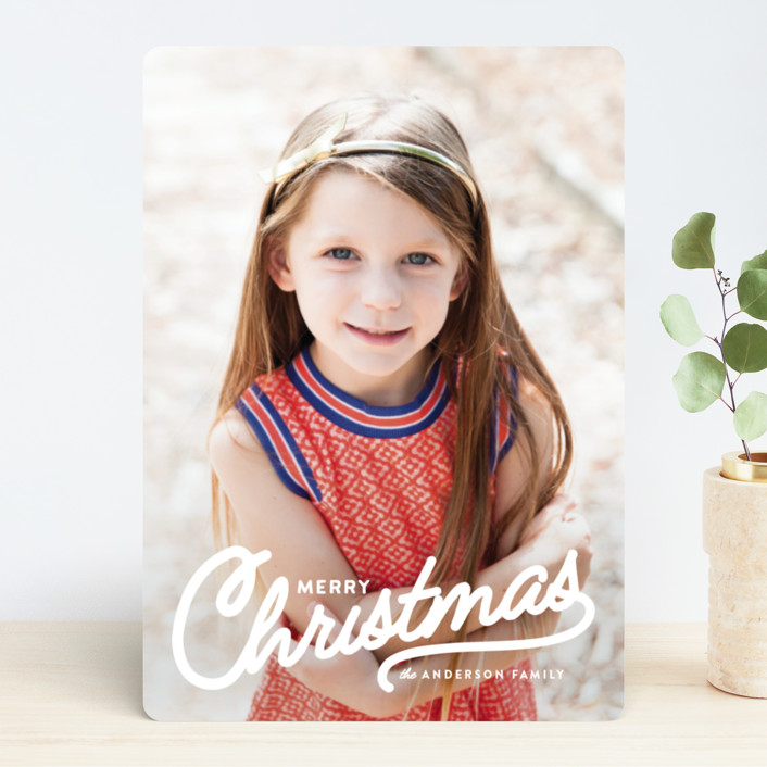 """Vintage Christmas Script"" - Vintage Holiday Photo Cards in Snow by Melissa Egan of Pistols."
