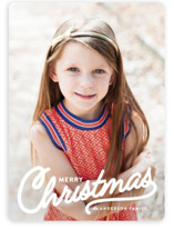 This is a white holiday photo card by Melissa Egan of Pistols called Vintage Christmas Script with standard printing on smooth signature in standard.