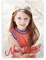 This is a red holiday photo card by Pistols called Vintage Christmas Script with standard printing on smooth signature in standard.