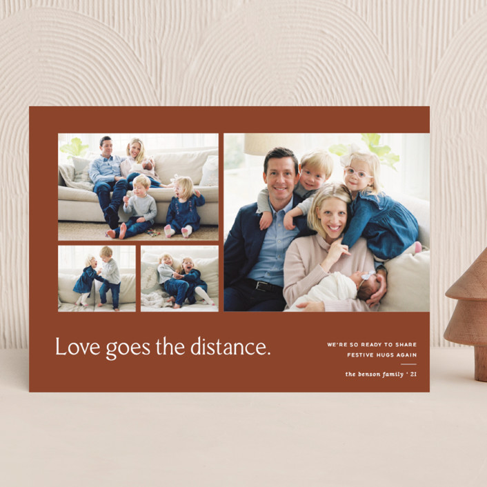 """Love Knows No Distance"" - Modern Holiday Photo Cards in Terracotta by Blustery August."