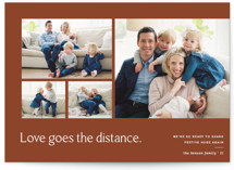 This is a brown holiday photo card by Blustery August called Love Knows No Distance with standard printing on smooth signature in standard.