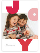 This is a pink holiday photo card by Carrie ONeal called Rond Holiday with standard printing on smooth signature in standard.