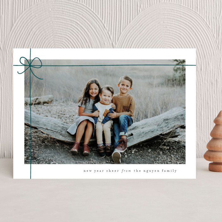 """""""Gift Wrapped"""" - Holiday Photo Cards in Emerald by Lauren Chism."""