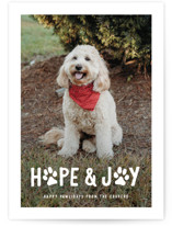 This is a white holiday photo card by Hooray Creative called Puppy Love and Joy with standard printing on smooth signature in standard.