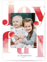 This is a red holiday photo card by Kimberly FitzSimons called Joyful Painting with standard printing on doublethick in standard.