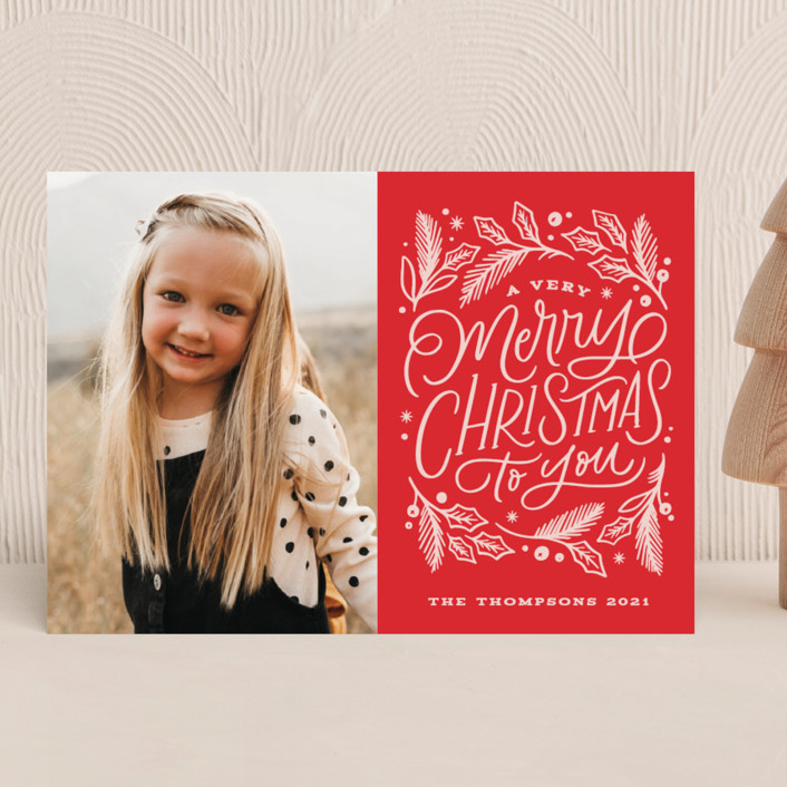 """""""Very Merry Christmas To You"""" - Bohemian Holiday Photo Cards in Cranberry by Kristen Smith."""