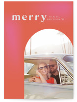This is a orange holiday photo card by Kanika Mathur called Retro Merry Married with standard printing on doublethick in standard.