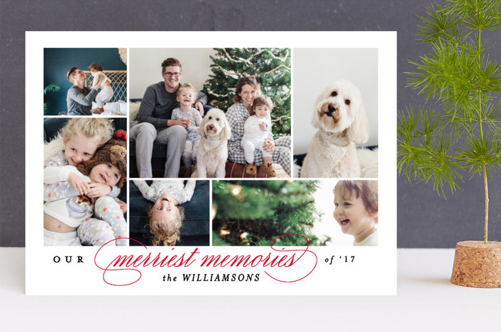 """Merriest memories"" - Holiday Photo Cards in Cherry by Kimberly FitzSimons."