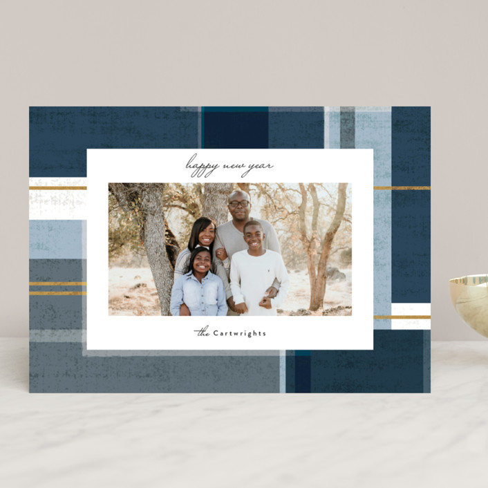 """""""abstract plaid"""" - Vintage Holiday Photo Cards in Denim by Rebecca Durflinger."""