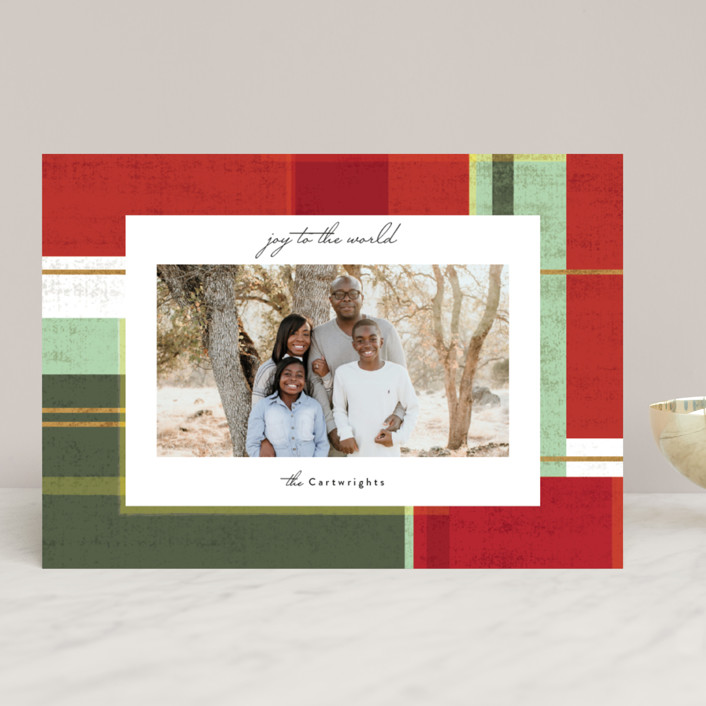 """abstract plaid"" - Holiday Photo Cards in Festive by Rebecca Durflinger."