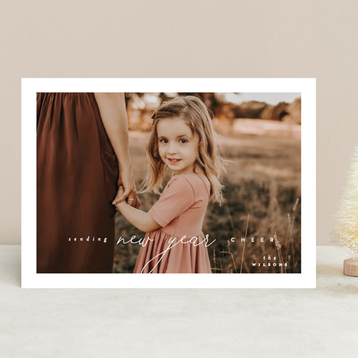 """""""Aire"""" - Holiday Photo Cards in Snow by Everett Paper Goods."""