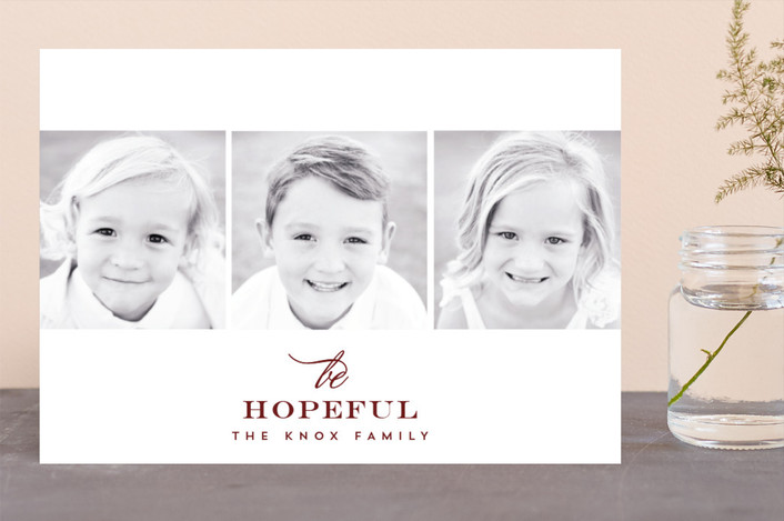 """Merry Three"" - Holiday Photo Cards in Merlot by AK Graphics."