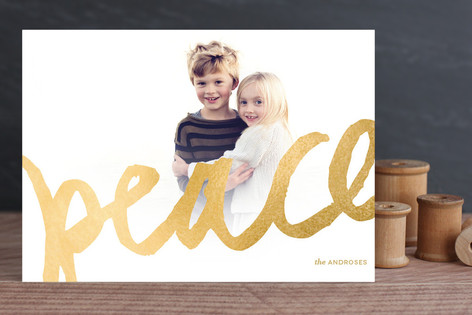 Brushed Gold Holiday Photo Cards