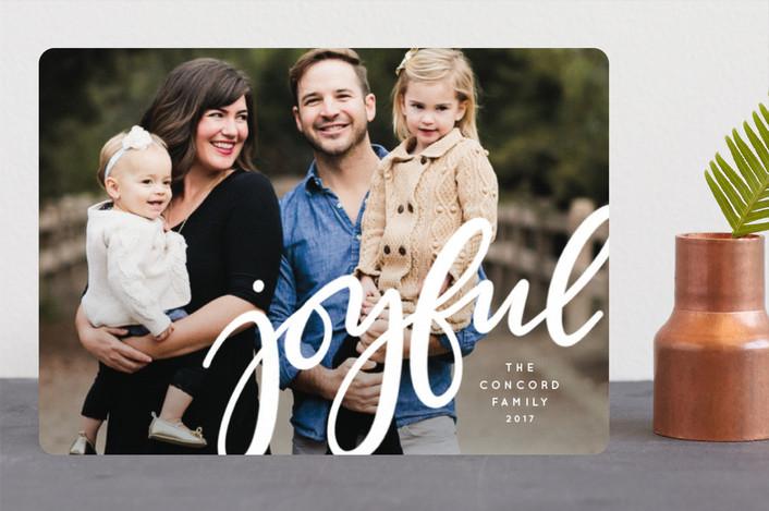 """Joyful"" - Holiday Photo Cards in Ivory by Lea Delaveris."