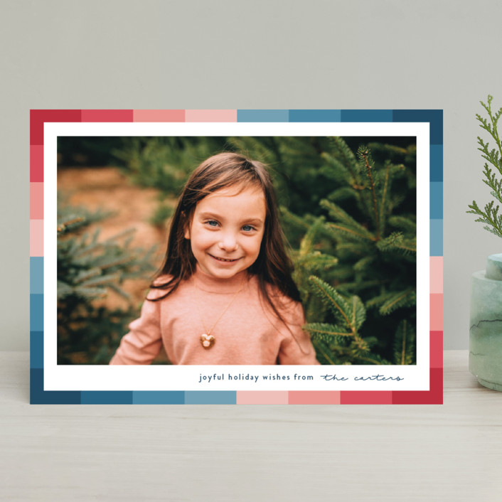 """Vibrant Frame"" - Modern Holiday Photo Cards in Marine by Lauren Chism."