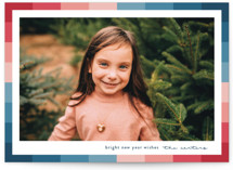 This is a blue holiday photo card by Lauren Chism called Vibrant Frame with standard printing on smooth signature in standard.