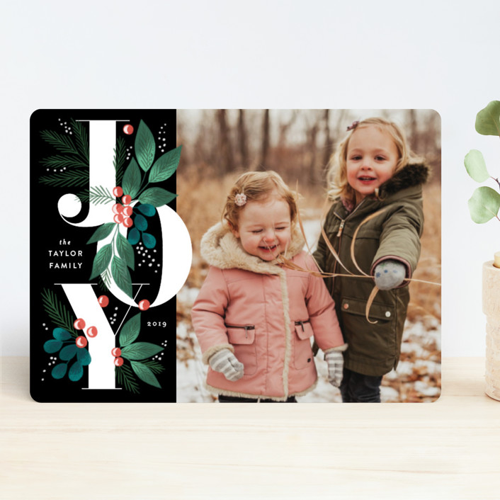 """Joy Letter Foliage"" - Holiday Photo Cards in Coal by Alethea and Ruth."