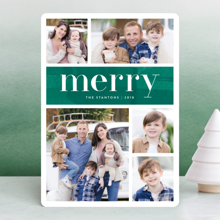 """Bright Merry"" - Holiday Photo Cards in Pine by Kelly Nasuta."