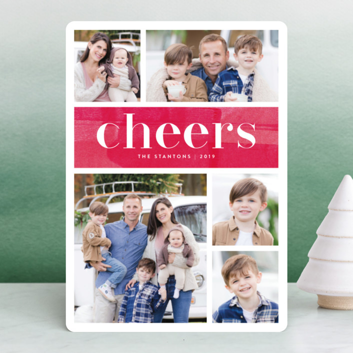 """Bright Merry"" - Holiday Photo Cards in Berry by Kelly Nasuta."