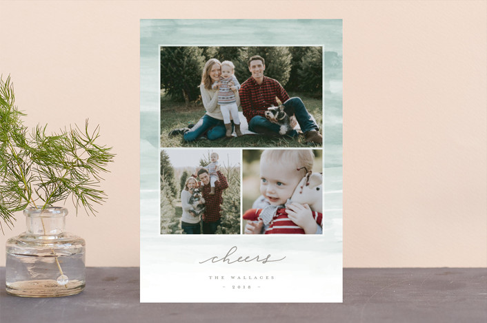 """""""Washed Strokes"""" - Bohemian Holiday Photo Cards in Mint by Everett Paper Goods."""