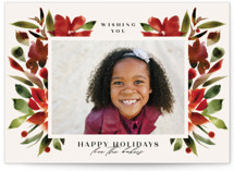 This is a red holiday photo card by Lori Wemple called Holiday with standard printing on smooth signature in standard.