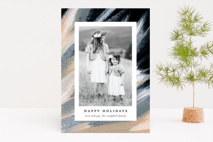 """Feathered Photo"" - Bohemian Holiday Photo Cards in Peanut Brittle by Simona Cavallaro."