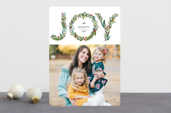 """Greenery Joy"" - Holiday Photo Cards in Wreath by Petra Kern."