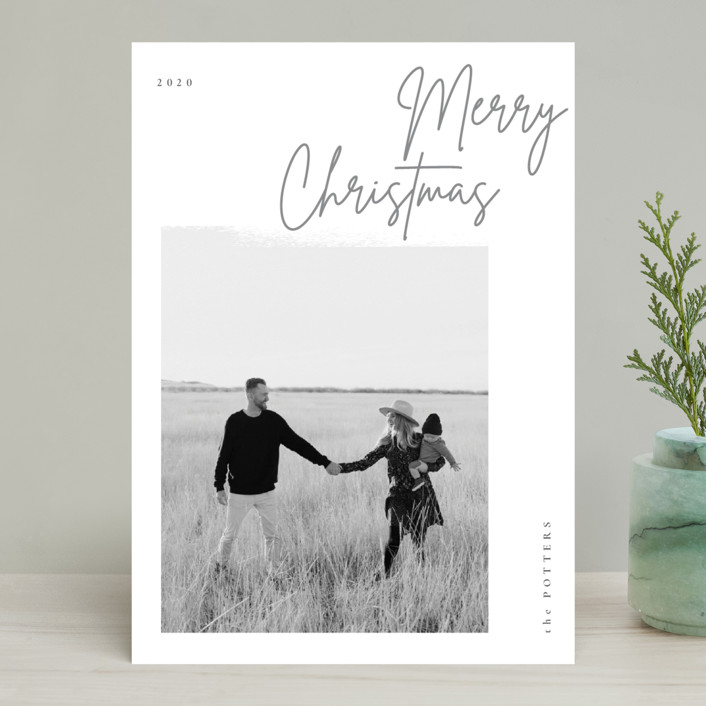 """minimal christmas script"" - Holiday Photo Cards in Stone by Sumak Studio."