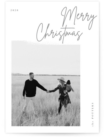 minimal christmas script Holiday Photo Cards