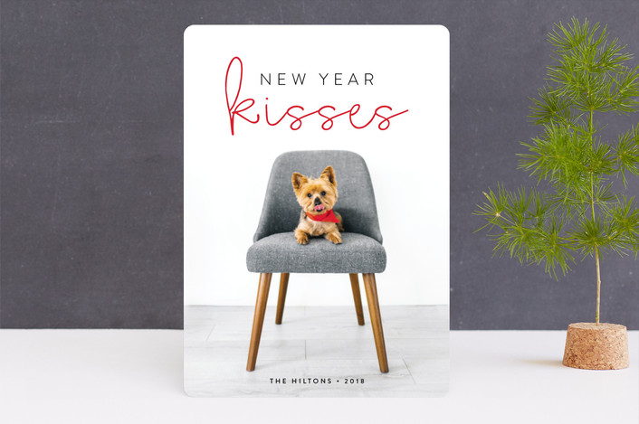 """Holiday Kisses"" - Holiday Photo Cards in Cherry by roxy."