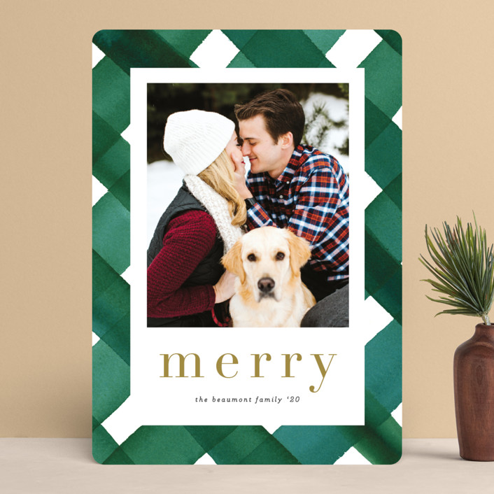 """""""Painted Plaid"""" - Modern Holiday Photo Cards in Noble Fir by Erica Krystek."""