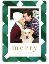 This is a green holiday photo card by Erica Krystek called Painted Plaid with standard printing on smooth signature in standard.