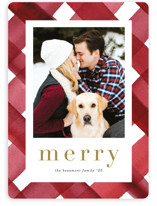 This is a red holiday photo card by Erica Krystek called Painted Plaid with standard printing on smooth signature in standard.