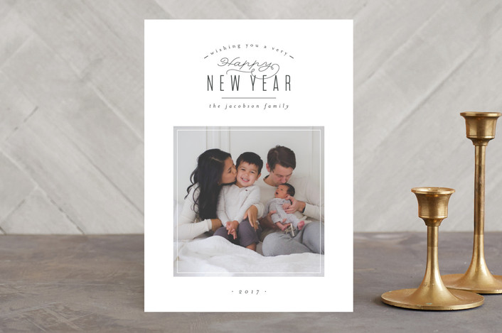 """Modern Wishes"" - Holiday Photo Cards in Charcoal by peony papeterie."