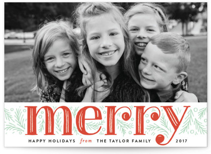 Merry Pine Branches Holiday Photo Cards