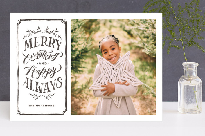 """""""Merry Everything + Happy Always"""" - Flora & Fauna, Vintage Holiday Photo Cards in Charcoal by Wildfield Paper Co.."""