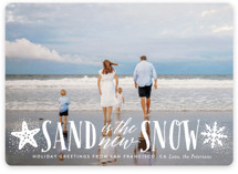 This is a white holiday photo card by Ali Means called Sand and Snow with standard printing on smooth signature in standard.