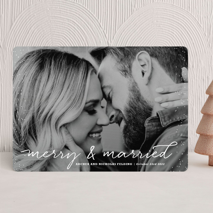 Merry and Married Holiday Photo Cards by Design Lotus | Minted