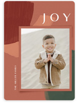 This is a red holiday photo card by silverscreen studio called organic collage with standard printing on smooth signature in standard.
