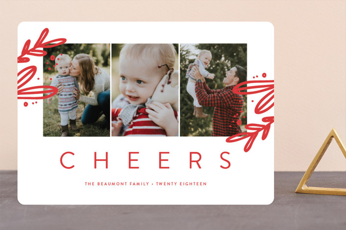 """Wintry Joy"" - Holiday Photo Cards in Poinsettia by Erica Krystek."