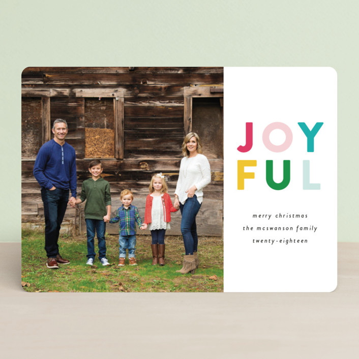 """""""Colorful Joyful"""" - Holiday Photo Cards in Rosy Cheeks by Genna Cowsert."""