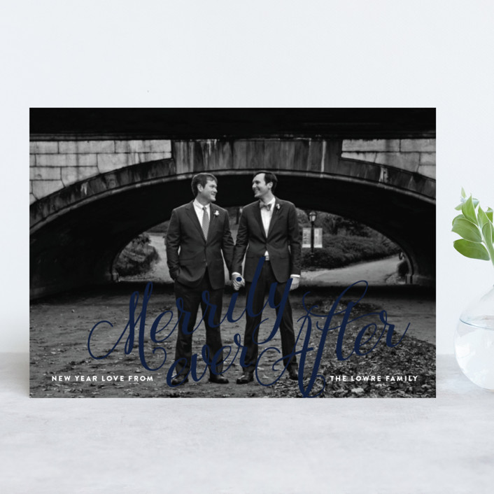 """""""Winter Love"""" - Holiday Photo Cards in Navy by Jennifer Lew."""