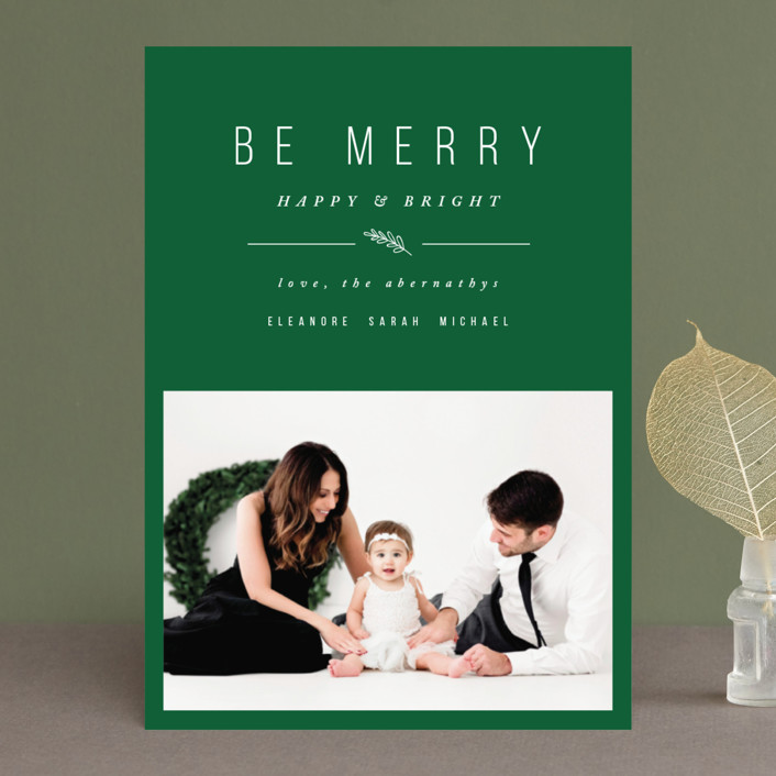"""""""Simple & Merry"""" - Holiday Photo Cards in Cookie Dough by Pistols."""