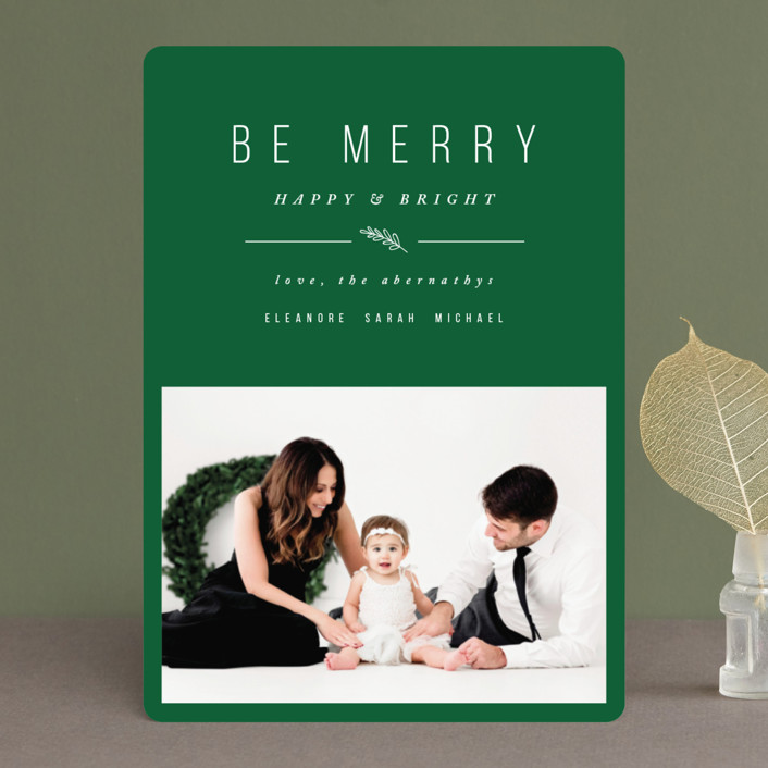 """""""Simple & Merry"""" - Holiday Photo Cards in Snow by Pistols."""
